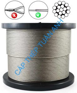 stainless steel wire rope aisi 316 1x19 3.2mm plastic reel with fitting