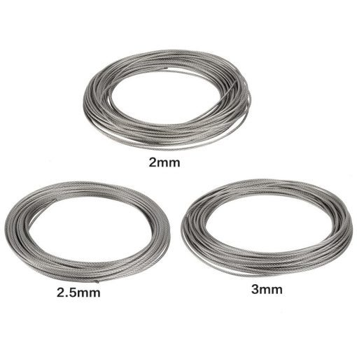 1Pc 20m 304 Stainless Steel Cable Wire Rope Hard Steel Wire for Fishing Lifting 22 53mm